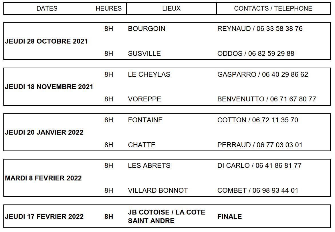 Calendrier Boule Lyonnaise Rhone 2022 Comité Bouliste Départemental de l'Isère